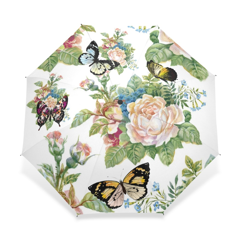 Full Automatic Butterfly Paraply Tre Folding Flower Paraplyer Kvinnor Barn Parasol Paraply Regnväxter Regn Guarda Chuva Paragua