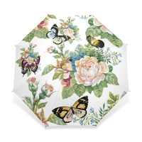 Volle Automatische Schmetterling Regenschirm Drei Falten Blume Regenschirme Frauen Kinder Sonnenschirm Regenschirm Regen Getriebe Regen Guarda Chuva Paragua