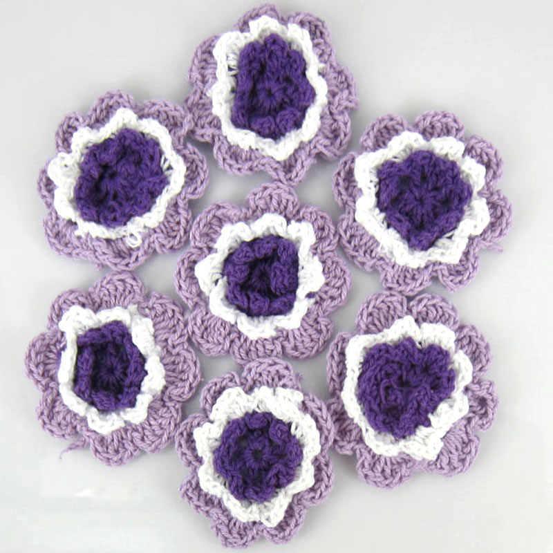 12cs Multicolor Cotone Handmade Crochet Fiori Applique Accessori di Cucito Mestiere Scrapbooking 4.5 cm Scegliere I Colori