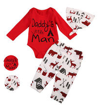 Newborn Baby Boy Daddy's Little Man Letter Printed Tops Romper Pants Hat 3pcs Outfits Clothes