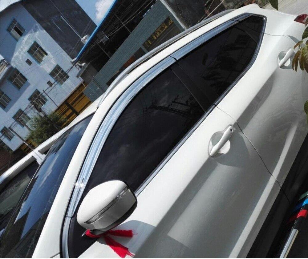 ABS Chrome en plastique fenêtre visière évent nuances soleil pluie garde voiture accessoires pour Nissan Qashqai 2015 2016 2017 2018 voiture style - 2