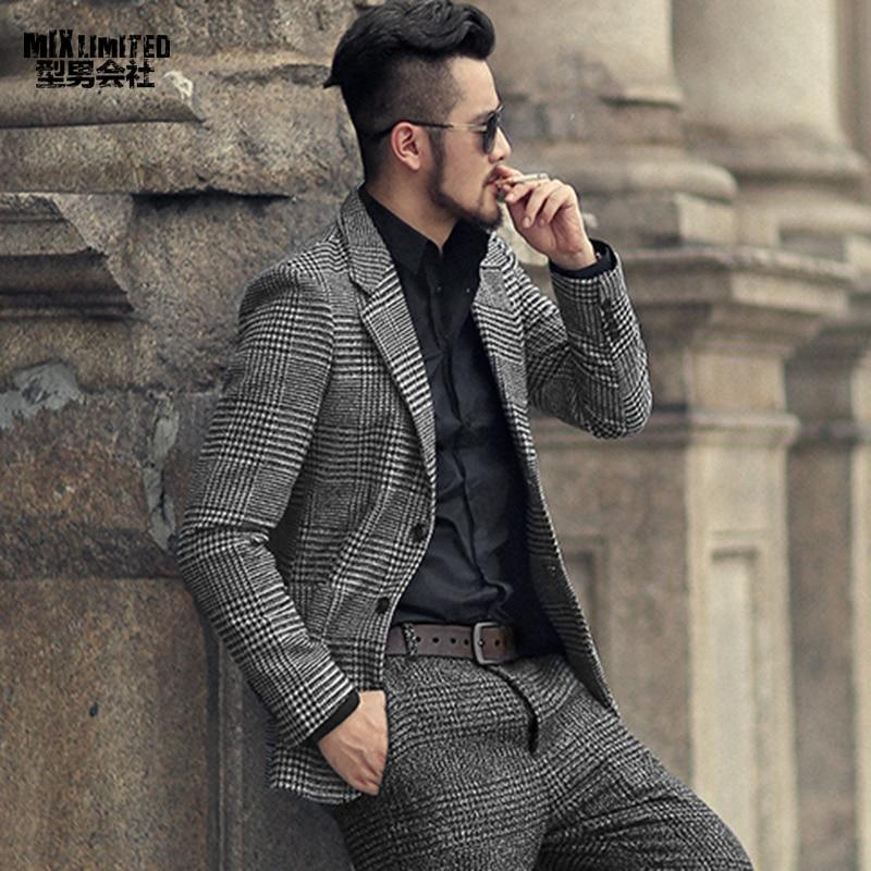 Hiver hommes nouvelle terre couleur de laine plaid mince costume de loisirs métrosexuel homme décontracté style Européen marque costume de mode veste F196-2