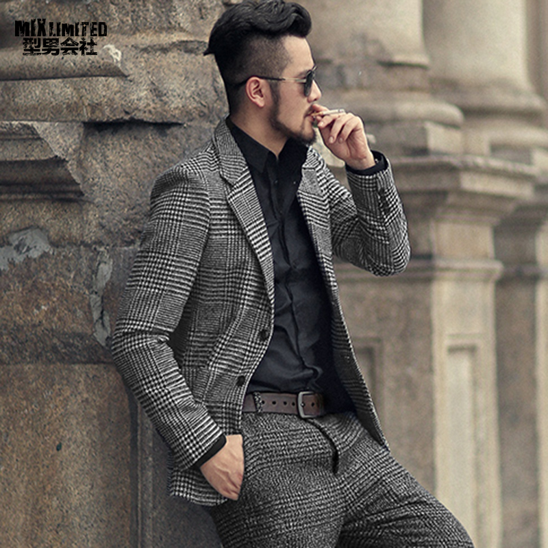 Inverno degli uomini di nuova terra di colore plaid di lana sottile vestito di svago metrosexual uomo casual stile Europeo di modo di marca del rivestimento del vestito F196-2