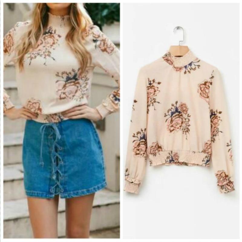 2018 Elegant floral print chiffon blouse women smocking ruffles neck summer blouse shirt casual streetwear long sleeve blouse