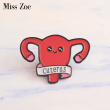 cuterus Enamel pin Women female uterus womb Brooches Gift Feminism icons Pin Badge Button Lapel pin for Clothing cap bag(China)
