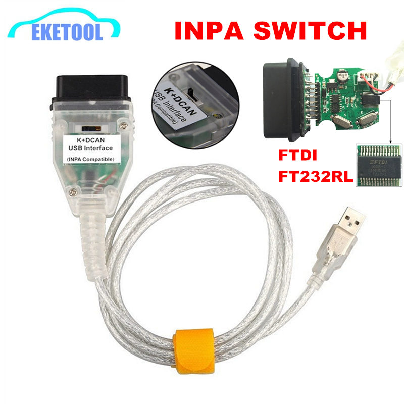 High Quality Newest Switch Control FT232RQ K+DCAN USB Interface For BMW INPA /Ediabas OBD2 CAN SCAN Diagnostic Compatible