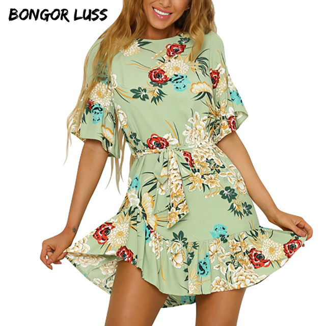 b1eba48cd8dd BONGOR LUSS Women Summer Beach Dress Bohemian Floral Print Boho Dress  O-Neck Short Sleeve