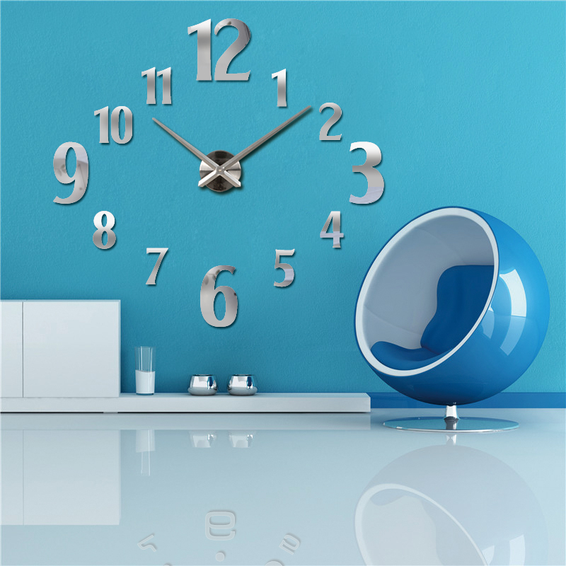 2016 new wall clock quartz living room diy clocks modern design watch horloge murale Acrylic mirror 3d stickers free shipping