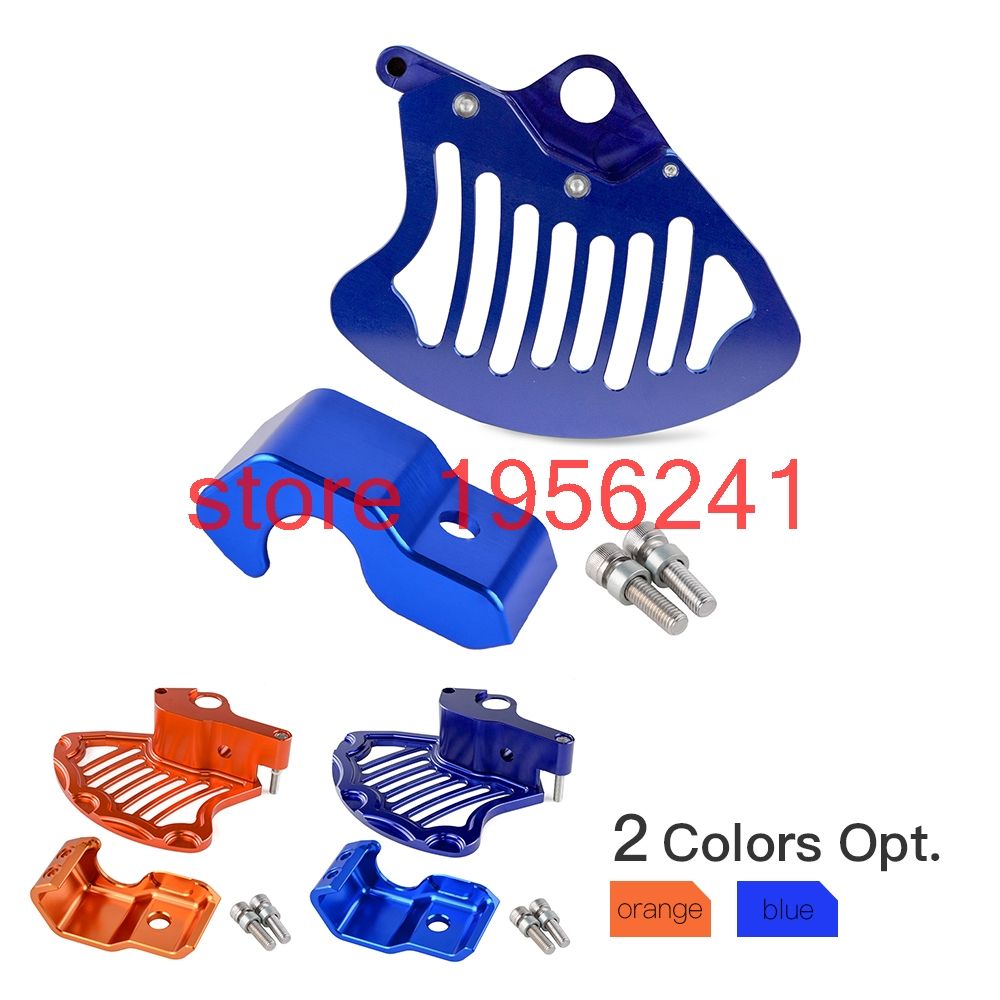CNC Front Brake Disc Rotor Guard & Lower Right Fork Leg Protector For Husqvarna FE TE 125 200 250 350 450 501 2015 keoghs motorcycle brake disc brake rotor floating 260mm 82mm diameter cnc for yamaha scooter bws cygnus front disc replace