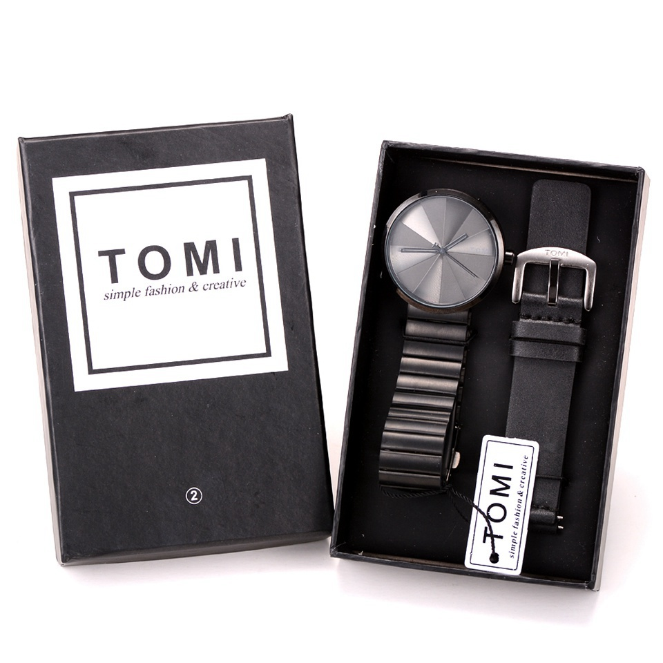 Tomi Watches Men Luxury Brand Stainless Steel Leather Business Casual Wristwatch Combination Waterproof Quartz Watch geometric print color block splicing v neck long sleeve sweater
