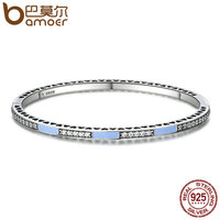 BAMOER Genuine 100 925 Sterling Silver Radiant Hearts Light Blue Enamel Clear CZ Bangle Bracelet Luxury