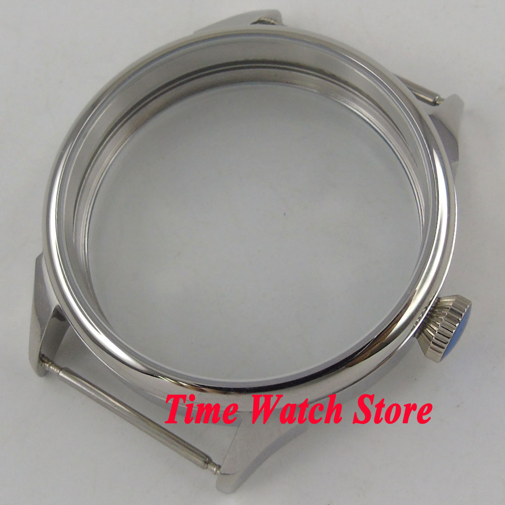 Parnis 42mm Polished 316L stainless steel watch case fit ETA 6497 6498 hand winding movement C137 44mm polished stainless steel watch case with coin bezel fit for eta 6497 6498 hand winding movement c6