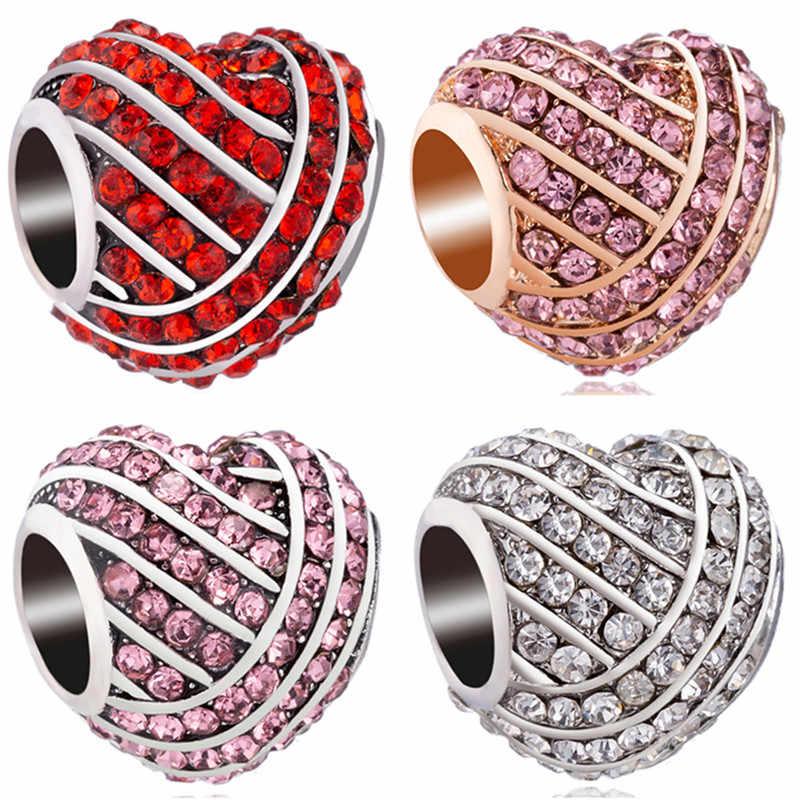 New Chegou 5 Cores Coração Contas de Cristal Encantos Fit Pandora Original Pulseira & Braceletes Trinket Jóias Presentes para Mulheres Bijoux
