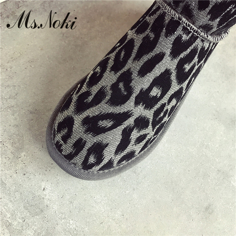 Niñas Cálido Planas Mujer Leopardo Las Redonda Botas En De Slip Invierno pink Plataformas Moda Black Tobillo gold Con Punta 0nxSF6W5
