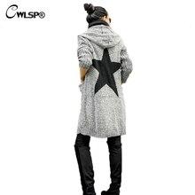 Cwlsp верхняя одежда толстый свитер кардиган Для женщин; коллекция 2017 г.; на осень-зиму пятиконечная звезда вязаный свитер пальто с капюшоном pull Femme Hiver