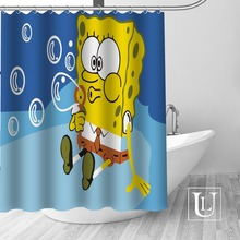 High Quality Custom SpongeBob Shower Curtain Polyester Fabric Bathroom  Curtain Hooks Mildew Resistant Bathroom Decor(