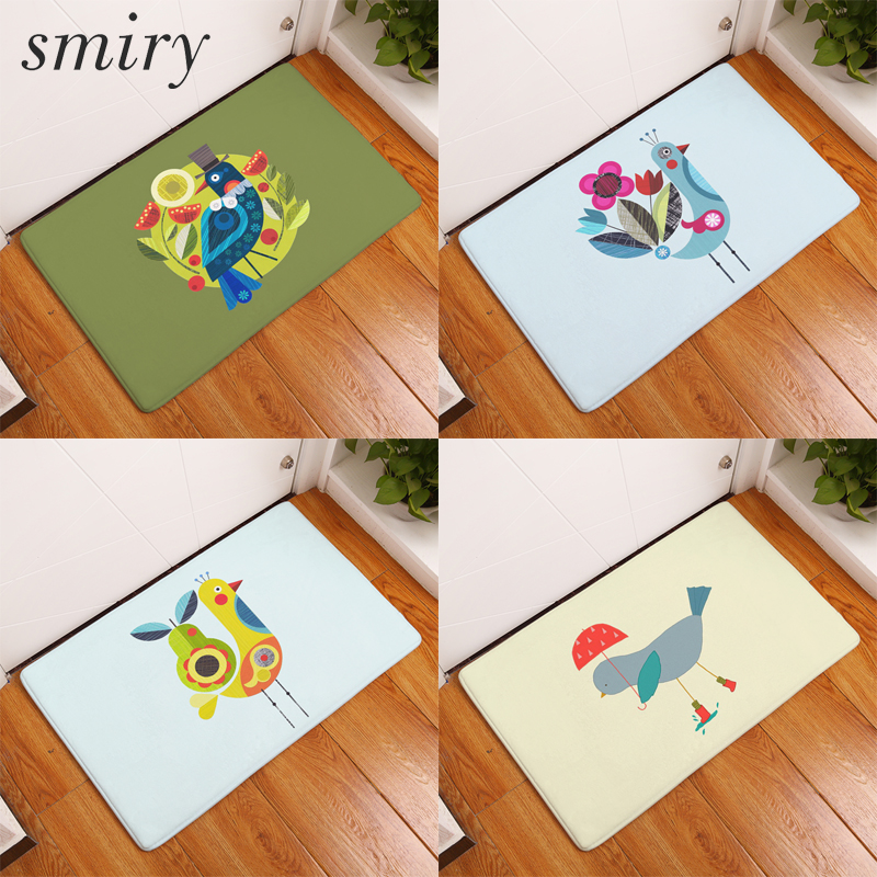 Smiry Vacuuming Washable Light Door Mats Colorful Cute Geometric Puzzle Bird  Rugs Welcome Floor Mats Flannel