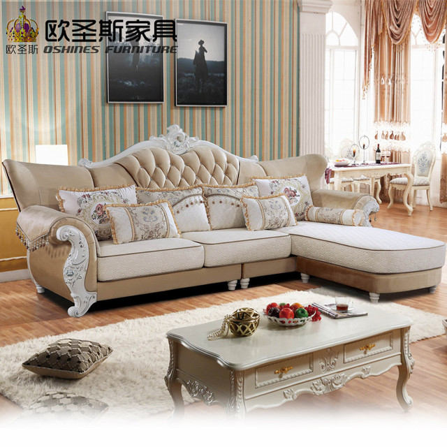 Luxury L Shaped Sectional Living Room Furniutre Antique Europe Design Clical Corner Wooden Carving Fabric Sofa