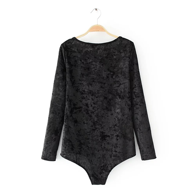 Solid Women Bodysuits O Neck Female Clothes Velvet Jumpsuit For Women Spring Female Bodysuit With Long Sleeve Women Clothing S-L (4)