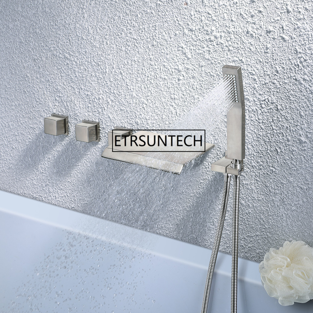 Shower System Brushed Nickel, Luxury Bathroom Wall Mount Bathtub Faucet, Widespread Waterfall Tub Spout with Hand Shower