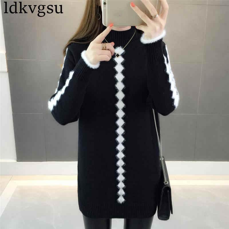 2019 新冬の女性のセータードレス韓国の半分の高襟毛深いジャカードベースロングセクションニットドレス V213