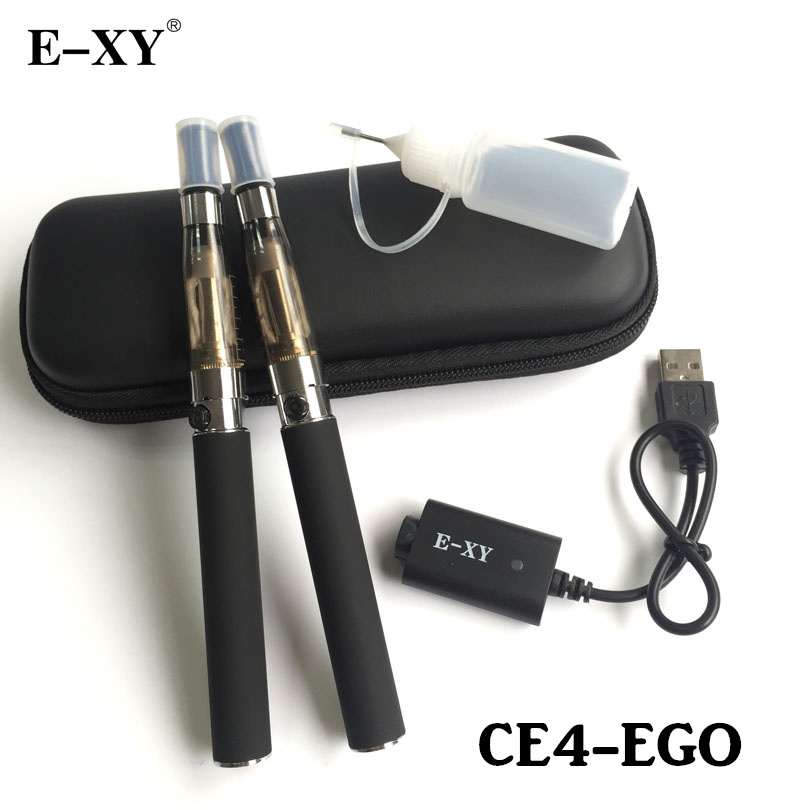 E-XY EGO Double Electronic Cigarette 650/ 900/1100/1300mAh Ego chargeable Battery With CE4 Vaporizer Atomzier Zipper bag Kit