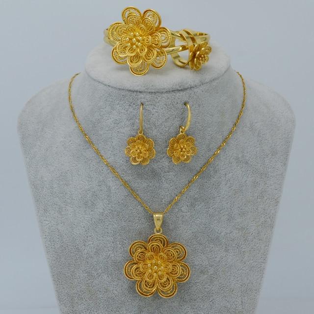 Chapado En oro de la Flor Colgante Collar Pendientes Pulsera Anillo de conjuntos de Joyas De Boda Árabe Etíope Inflorescencia Africa #022406