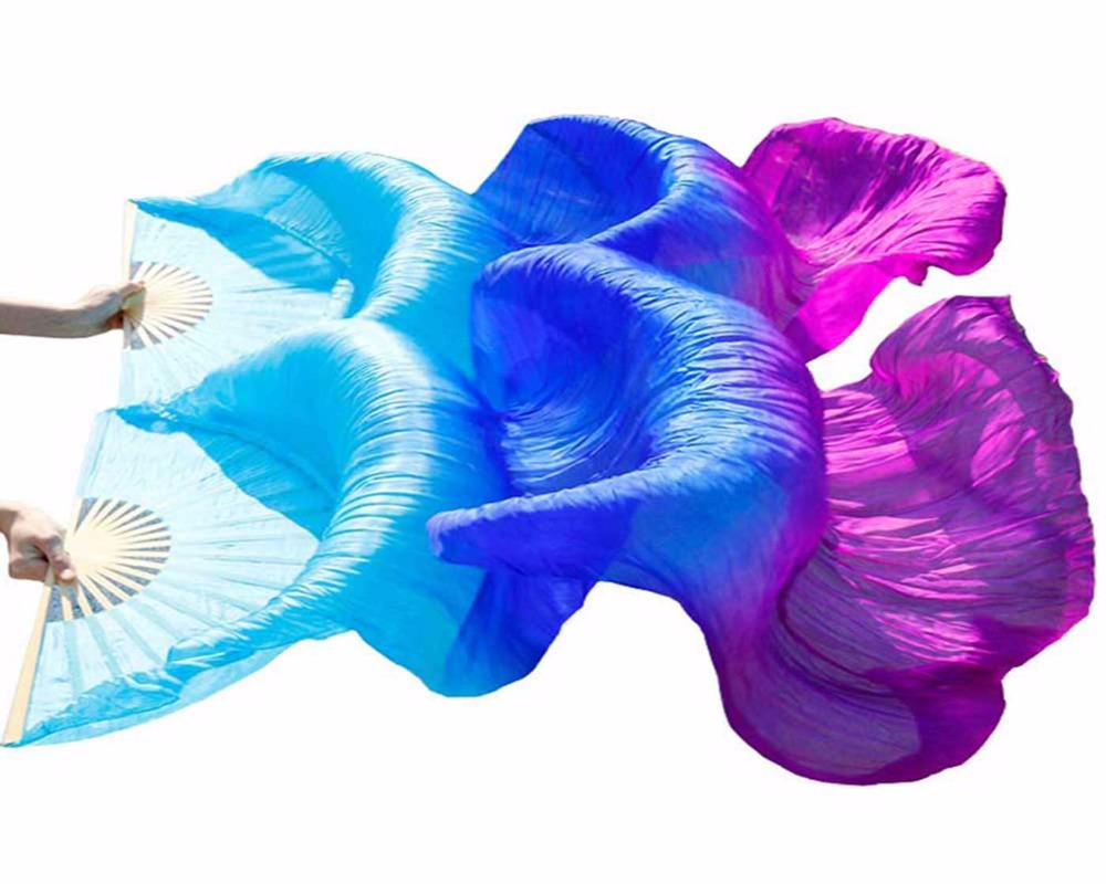 1Pair 100% Silk Dance Fans Bamboo Ribs Stage Performance Props Dyed Fans Women Belly Dance Silk Fans Turquoise+Royal bule+Purple