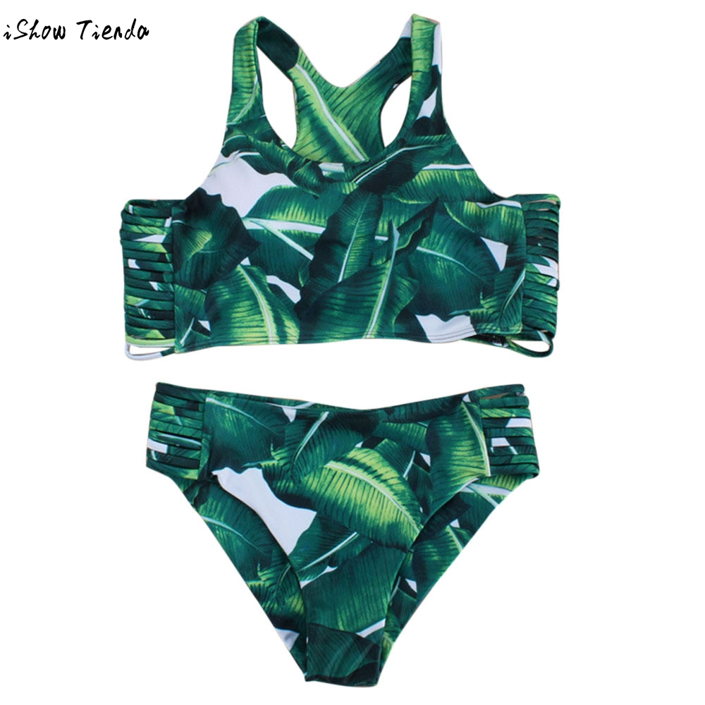 Womens Bikini Set Hot Sale Sexy Leaves Straps Swimsuit Push-up Summer Style Swimwear Junior Girls Swimsuit maillot de bain