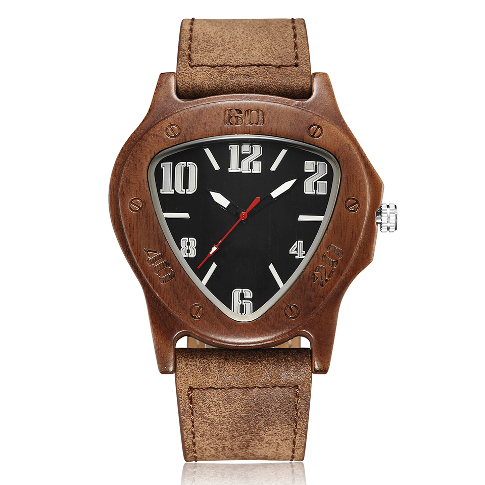 Casual Triangle Case Wood Watch Mens Women Hodinky Natural Wooden Cowhide Leather Quartz Wrist Watch Retro Bamboo Montre Homme
