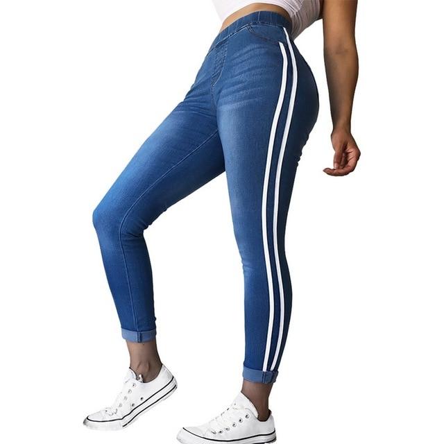 1878a98b6f LASPERAL mujeres emparejado pantalones casuales Delgado botas Jeans  ajustados Vaqueros Patchwork alta cintura lado rayas Pantalones