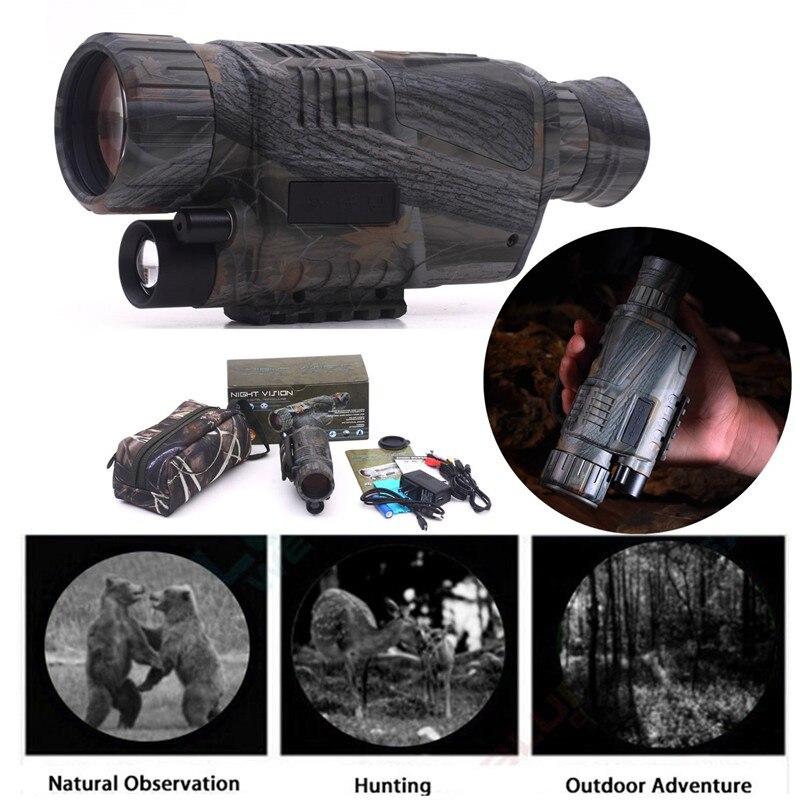 Newest Hunting Optics Powerful Infrared Spotlight Dark Night Vision 5X40 Monocular Telescopes Scope Hunting Adjustable Eyepiece bering optics gen 1 polaris 2 5x40 be14140