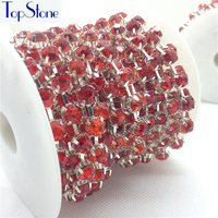 Lt Siam Red Color 28ss 38ss 45ss High Quality Crystal Rhinestone Round Cup Chain Silver Base