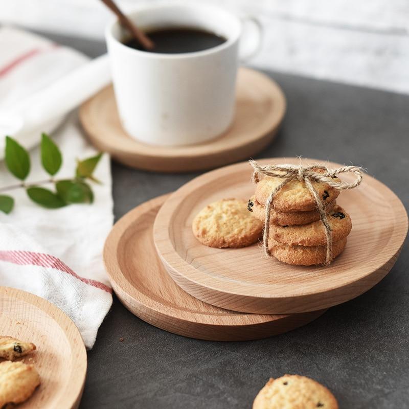 Set 4 pcs Mini Kue Nampan Kecil Putaran Kayu Beech Piring untuk - Dapur, ruang makan, dan bar