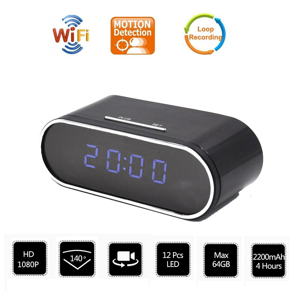 HD 1080 P WiFi horloge de Table Mini caméra réglage d'alarme moniteur à distance Micro caméra IP P2P IR Vision nocturne Wifi horloge