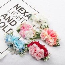 AHB Artificial Flowers Nylon Headband for Girls Elastic Band Soft Headwraps Photo Props Newborn Birthday Party Headwear