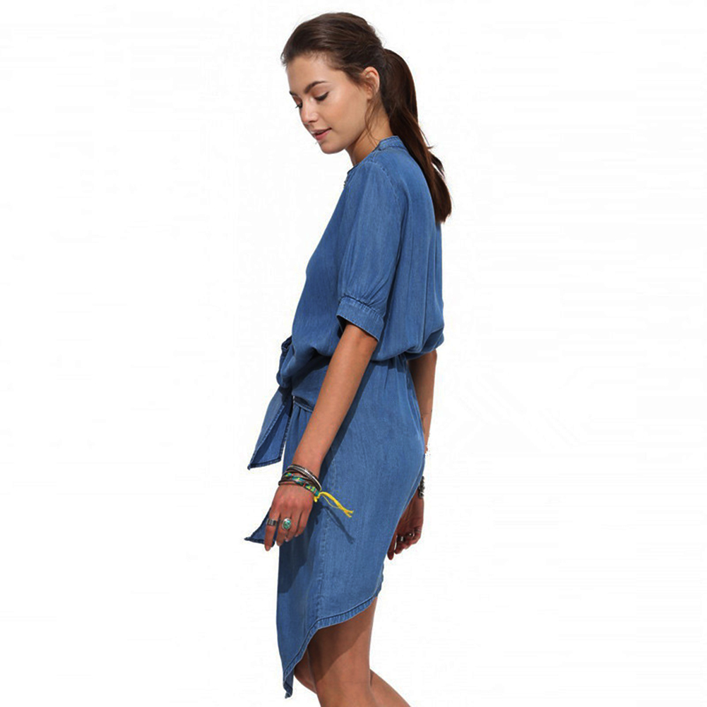 Hotsale Women Casual Half sleeve Bandage Jeans Dress  Single-breasted denim blue Shirt dresses Summer Denim Dress
