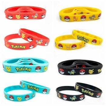 40pcs New Trendy Charms Game Wristband Pokemon Pikachu Silicone Bracelet Cartoon Bangles Kids Birthday Party Decoration Gift Toy 1