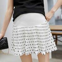 Новый корейский мини волновой точки плиссированные юбки для беременных мода для беременных лето черный, белый цвет живот Лифт юбка Беремен...