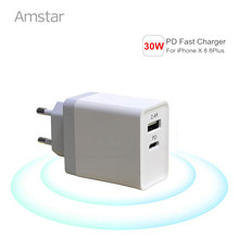 Amstar 30W USB PD Charger Type-C Port Fast Charge for iPhone X 8 8 Plus EU/US Plug Travel Wall Adapter for Samsung Huawei Xiaomi(China)