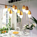 Nordic droplight Ei Glas 10 Leuchtet Vintage pendelleuchte Eichenholz Retro lampe 110/220 V Kabel Hängen tropfen Lampe pendelleuchte