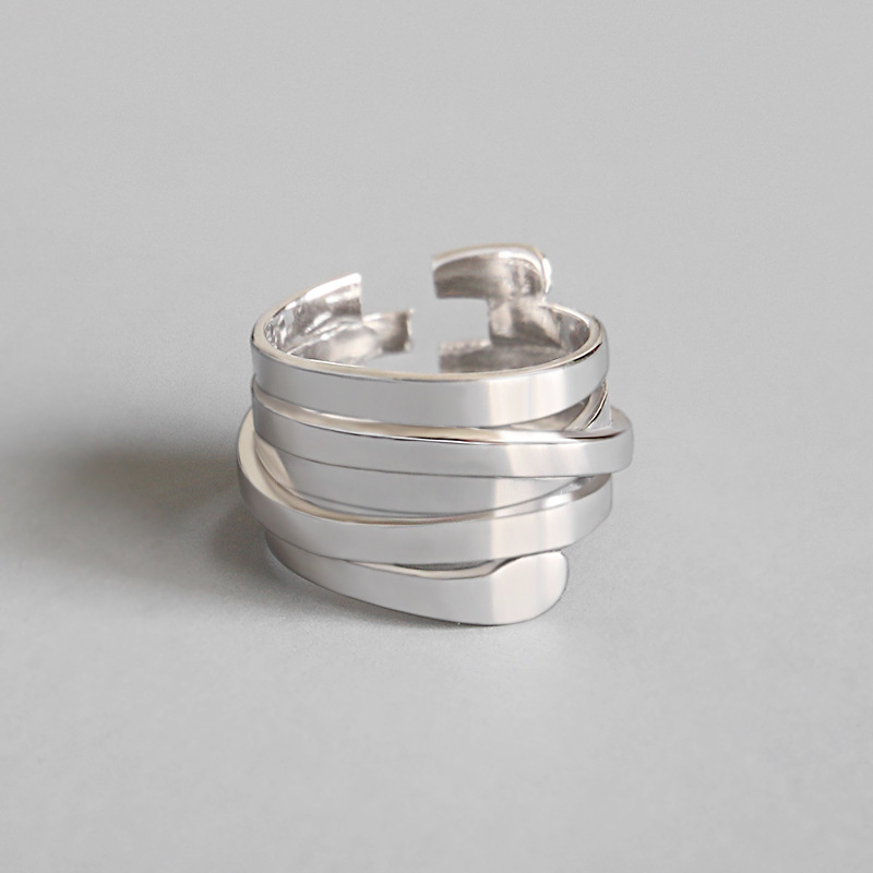 LouLeur 925 Sterling Silver Multi-layer Winding Rings Silver Fashion Personality Open Rings For Women 2019 New Creative Jewelry