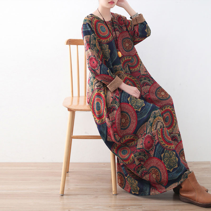 Johnature Women พิมพ์ดอกไม้ชุดหนา Robe 2019 ฤดูหนาวใหม่แขนยาว O Neck ถักผ้าฝ้ายเสื้อผ้าผู้หญิงชุด-ใน ชุดเดรส จาก เสื้อผ้าสตรี บน   2