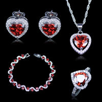 Dubai Style Heart Square Red Created Garnet White Zircon Sterling Silver 925 Silver Jewelry Sets For