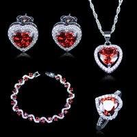 ดูไบสไตล์หัวใจตารางสีแดงสร้างโกเมนสีขาวเพทายสี