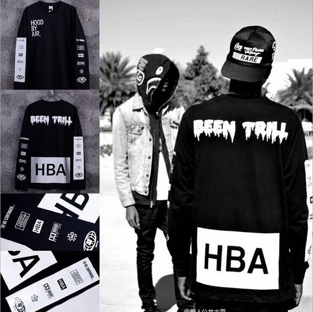 New 2016 Men's Hood By Air Long Sleeve Tee Shirts Man HBA Hip Hop t-shirts Been Trill Printed tshirts Men Camisetas Clothing