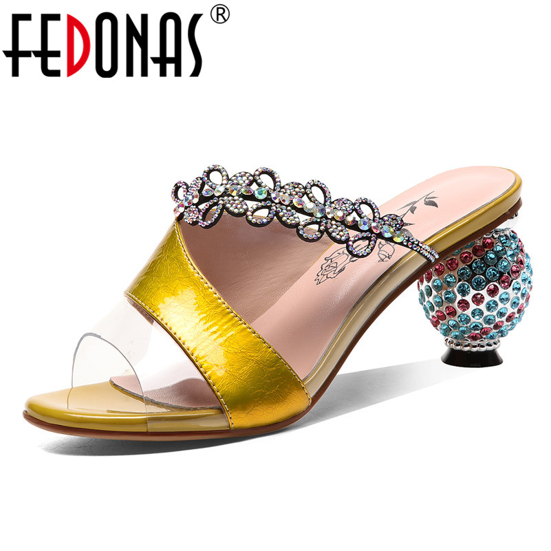 FEDONAS 2019 Summer New Fashion Sexy Women Sandals Classic Genuine Leather Mixed Colors High Heels Rome