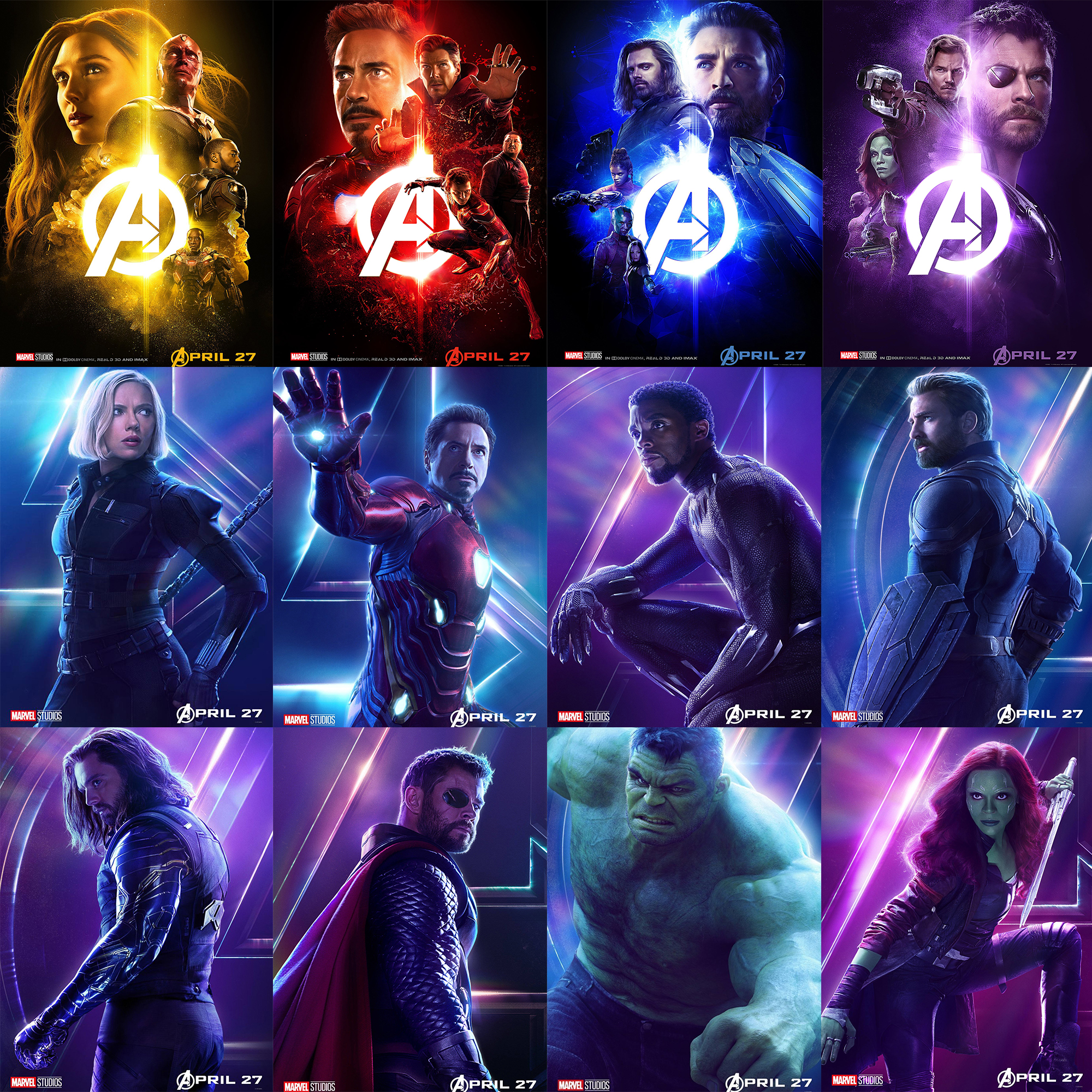 US $1 62 40% OFF|Avengers Infinite World 22 Characters Posters Movie Wall  Stickers Glossy Paper Prints High Definition Bedroom Decoration-in Wall