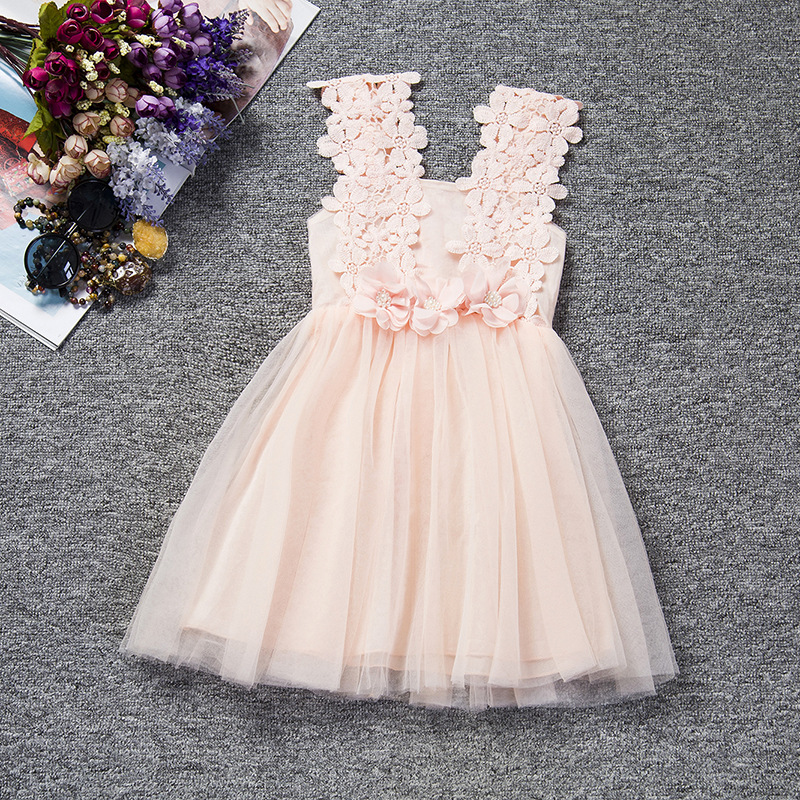 U-SWEAR 2019 New Arrival Kid   Flower     Girl     Dresses   Lace   Flower   Hollow Out Sleeveless Sweetheart Chiffon Pageant   Dresses   For   Girls