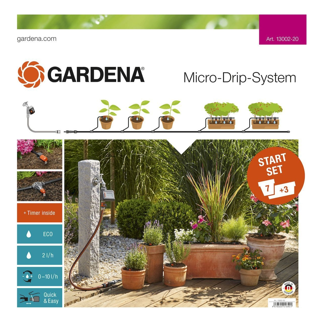 Watering System GARDENA 13002-20.000.00 (For 7 potted plants and 3 flower boxes, 1 timer feeder water EasyControl, 1 Master unit 1000, 15 m магистрального hose, 10 m pickup hose, 7 adjustable end to стоимость
